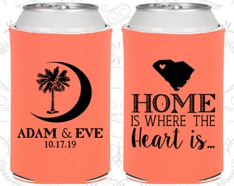 Palmetto Tree, Wedding, Crescent Moon, South Carolina Palmetto, Palmetto Moon, South Carolina Wedding Favors, Wedding Can Coolers (378)