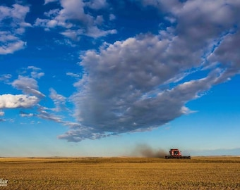 Harvest Photography, Landscape Photo, Farm Print, Case IH Art, Clouds Photography, Combine, Tractor Photography, Alberta Home Wall Decor