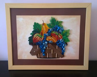 Quilled handmade picture art - basket with fruits/Quilling decor/Quilled painting/