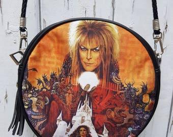 Labyrinth Black Round Handbag - David Bowie Fantasy Movie Poster Retro Bag Clutch