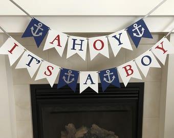 Ahoy It's A Boy Banner, Boy Baby Shower Banner, Baby Shower Decoration, Nautical Baby Shower, Anchors, Navy, Red, White, Photo Prop, Newborn