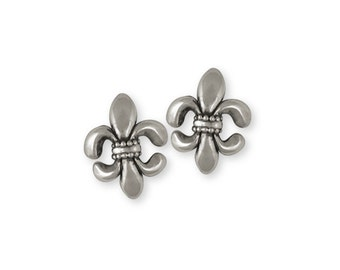 Fleur De Lis Earrings Jewelry Sterling Silver Handmade Flower Earrings FD10-E