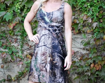 Long Camo Dress -Floor Length - Camouflage Dress - Camo Sundress  - Camo Wedding - Camo Bridesmaid Dress - Camo Wedding Dress - MADE IN USA