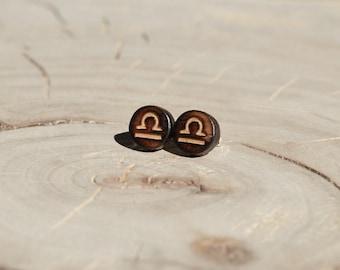 Boucles d'oreilles Clou Bois Récupéré et Argent - Signe Astrologique Balance