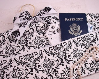 Black and White Damask Travel Hanger Closet Safe for Travel or Home