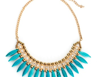 Turquoise Fanned Statement Necklace