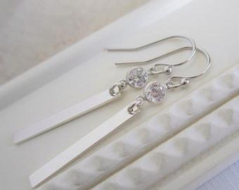 Sterling silver dangle earrings, silver bar earrings, delicate CZ earrings, bridesmaid earrings, modern bridal jewelry, silver earrings