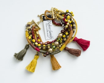 Boho tassel bracelet sophisticated bracelet layered bracelet yellow red green brown jewelry for every day gift for her