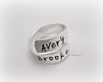 Name Wrap Ring - Gift For Her - Kids Names - Stamped Custom Ring - Hand Stamped Jewelry - Personalized Jewelry - Engraved Jewelry