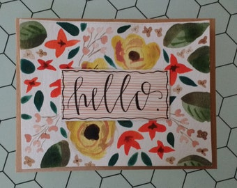 Red and Yellow Floral Hello Card