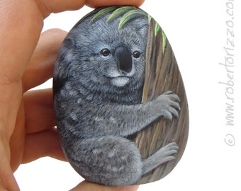 Sweet Koala Painted on A Sea Rock | Painted Stones by Roberto Rizzo