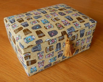 Sewing box, needlework box, elasticated pocket, pin cushion, padded sewing box, lined sewing box, hand made sewing box