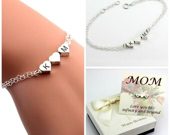 Mom bracelet, Sister bracelet, Best friends bracelet, triple heart bracelet, monogram bracelet, Personalized heart bracelet, gift for her