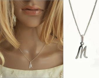 M Letter Necklace, Alphabet Letter M Necklace, 925 Sterling Silver Jewelry, M Name Charm, Everyday Waer Jewelry