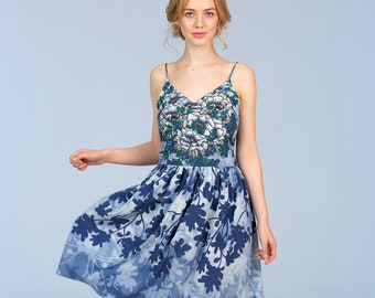 Blueberry  Flowers - short dress
