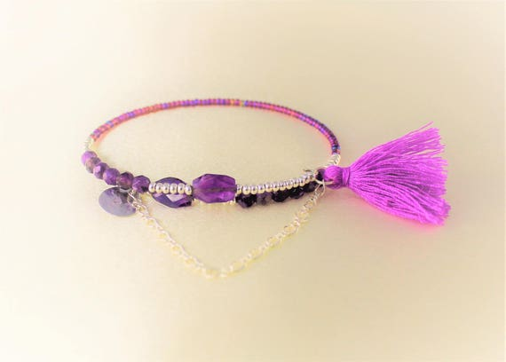 chic bohemian memory faceted Amethyst bracelet, seed beads, tassel and charm sequin