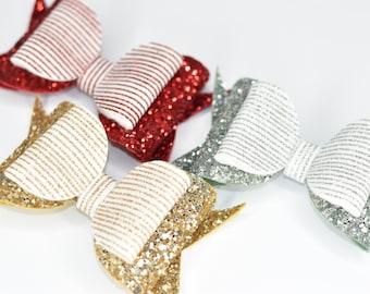 Candy Stripe Glitter Bow