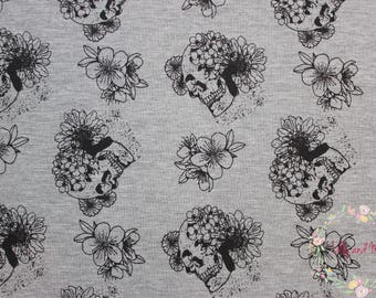 Boho Skulls in Melange Cotton Jersey -  Lilly and Mimi Fabric Shop -  Lilly and Mimi Fabric Shop UK