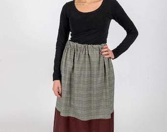 Skirt MoD. Sage/Prince of Wales/Balzan Bordeaux