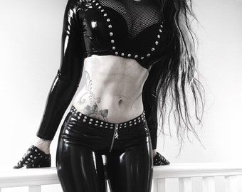 READY TO SHIP. Studded latex&fishnet long sleeve crop top. Uk8-sizeS