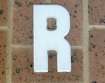 Vintage Metal Sign Metal Letter R Sign Vintage Marquee Metal Letter R Chippy Painted R Sign Rusty Sign