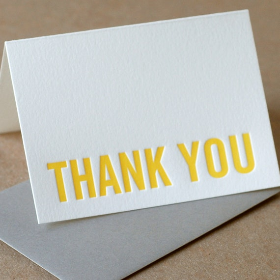 Letterpress Thank You Cards : Sunshine Yellow Modern Block Thank You Notes - box of 5 small folded cards w stone gray color envelopes