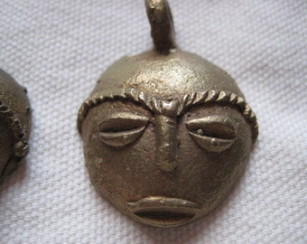 Vintage African Bronze Metal Face Mask Pendant Charm Necklace Handmade Jewelry Supplies Hippie Gypsy Retro Primitive Ethnic Jewelry