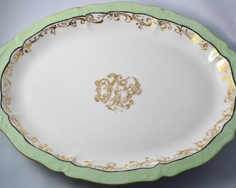 Antique LIMOGES French Porcelain Platter Serving Tray Mint Green Gold Scrolls Theodore Haviland Artist Signed 1903 Large Tableware