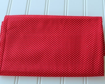 Vintage Fabric - Cotton Dotted Swiss - Red and White - Yardage
