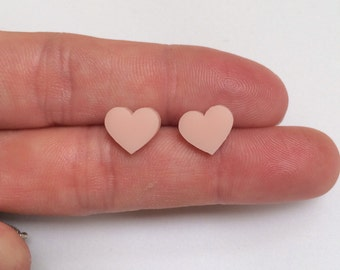 Large light pastel pink Acrylic / perspex laser cut earrings heart studs