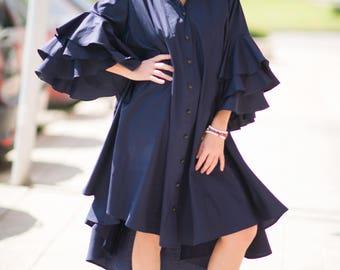 Navy Blue Maxi Dress, Mid Length Dresses, Cotton Plus Size Loose Dress, Women Day wear Dress, Party Dress, Summer Dress - DR0168CT