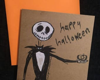 6x6 Handmade illustrated Halloween greetings card - Jack Nightmare before Christmas - 2 designs