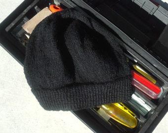 Mens Black Hat Mens Alpaca Wool Beanie Men's Cap Mens Skully Mens Light Thin Hand Knit Hiking Skiing Snowboarding (One Size Made to Order)