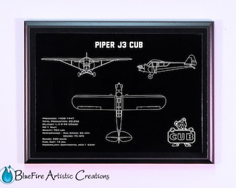 Aircraft Art, Piper J3 Cub Aircraft Engraved Blueprint Plaque, Guy Gift, Aircraft Gift, Pilot Gift, Wall Art, Aircraft Art
