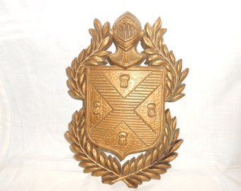 Knights Coat Of Arms Vintage Mid Century Gold Tone Classic Great For Man Cave Decor