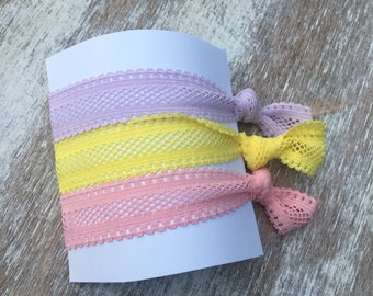 Set of 3 Girls/Adults Elastic Hair Ties, Girls Hair Accessories, Pink Hair Ties, Party Favors, Bridesmaid Gift