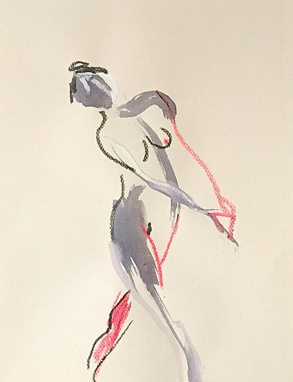 Nude painting of One minute pose 113.6 nude art, original, gesture sketch by Gretchen Kelly