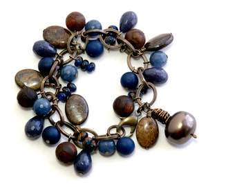 Semiprecious Stone Bracelet, Charm Style, Statement, Blue, Brown, Agate, Bronzite, Jasper, Natural Brass Jewelry