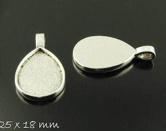 Pendants m. version drops 25 x 18 mm silver