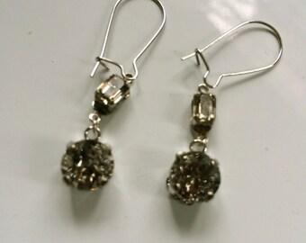 New swarovski effect silver patina and black diamond earrings