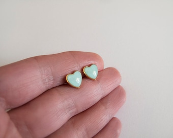 Mint Gold Heart Stud Earrings
