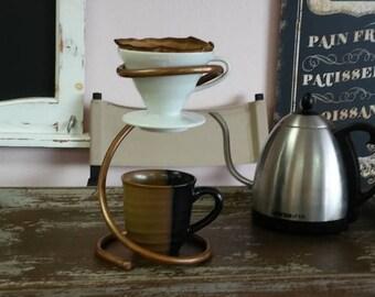 Pour Over - Ceramic Drip Stand + Hario V60 Dripper - Copper Stand - Copper Kitchen - Copper Gifts - Copper Coffee Maker - Ceramic Dripper