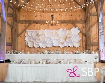 30 Paper Flowers (Ivory, Cream, White) - DIY Wedding Backdrops | Paper Flower Backdrops | Paper Flower Wall | Bridal Shower | Baby Nursery