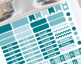 Shades of ocean blue basic planner stickers