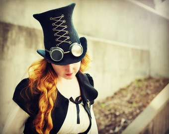 "Costume Hat. ""Black"" Steampunk Hat. Mad Hatter Hat. Fantasy Hat. Cosplay Hat. LARP."