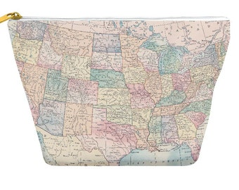 United States Map pencil case, vintage pastels, makeup bag, travel, small gifts, holiday, stocking stuffer, zipper pouch bag T-bottom, gift