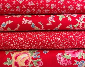 Bundle of 4 Red Floral Cotton Fabrics from the Flower Sugar Wind Spring 2017 Collection by Lecien Fabrics