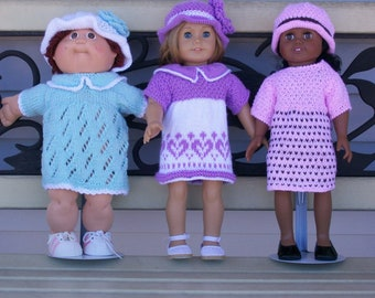 111) Hand Knit Beautiful Dresses Lace Pattern with or without a Collar Short Sleeves Back Opening for ANY 18 Inch Doll  Toys Doll Clothes