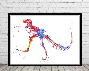 T Rex, Dinosaur, animal art, Dinosaur,Wall Art, print, watercolor T Rex, T Rex poster, T rex skeleton, dinosaur skeleton