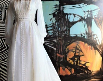 70's Victorian inspired Sheer Wedding Dress w lilac ribbons